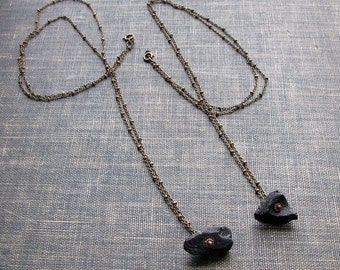real meteorite necklace . tektite nugget on long chain