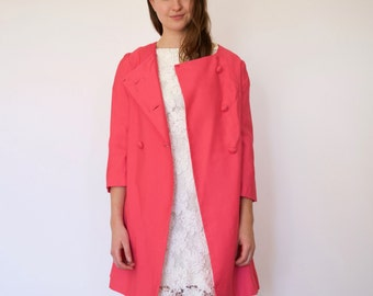 60s Hot Pink Collarless Double Breasted Jackie O Topper Coat xs s m
