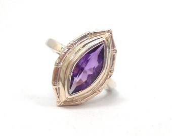 Amethyst Genuine Upcycled Marquise Gemstone Sterling Silver Ring February Birthstone
