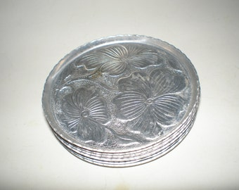 Dogwood Aluminum Coasters Repoussé Mid Century Aluminum Stacking Set of 6