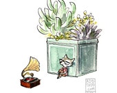 Music For Plants -- Record Lover -- Succulent Plant -- Vinyl Nerd Wolf -- Digital Watercolor Print -- Family Fun Art