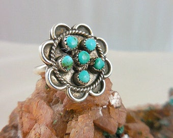 Native American Petit Point Turquoise Zuni Sterling Silver Ring