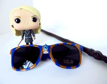 Ravenclaw Harry Potter Inspired Blue Bronze Striped Sunglasses