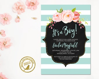 Baby Shower Invitation | It's a Boy Baby Shower invite | Blue Stripe Invitation |  Baby Shower | Printable 0511blue