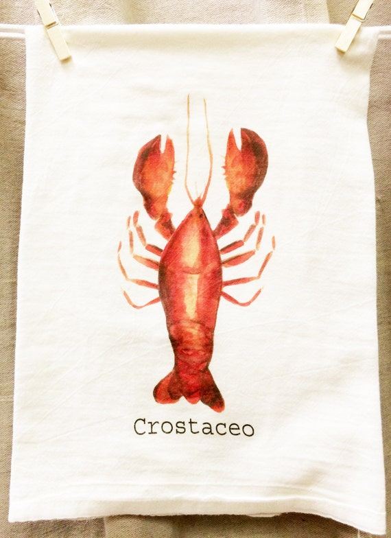 Lobster Kitchen Towel, Crotaceo, Tea Towel, Flour Sack Towel, Crustacean Towel, Seafood, Graphic Towel, Housewarming, Mediterranean Decor