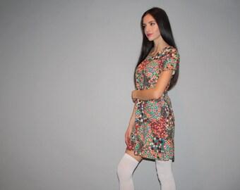 1960s Graphic Geometric Patterned Polka Dot Psychedelic Mod Mini Short Dress   - Short 60s Dress - W00210