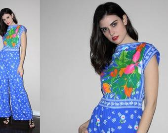 Vintage 1960s Mod Floral Boho Festival Jumpsuit - Vintage 60s Graphic Jumpsuits - W00805