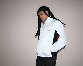 90s Vintage Nike Minimalist White Hip Hop Windbreaker Jacket - 1990s Nike - 90s Clothing - MV0048