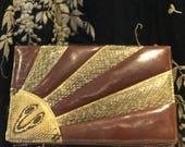 1940s Snakeskin Bag. Art Deco. Sunburst. Cobra. Clutch Handbag. Purse.