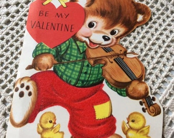 Vintage 1940s 1950s Valentine Card Teddy Bear Playing A Fiddle Violin Collectible Paper Ephemera Art Craft Scrap Booking