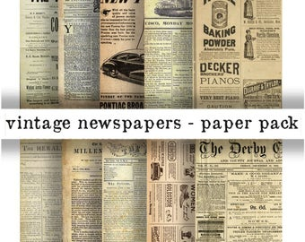 VINTAGE NEWSPAPERS Paper Pack- Digital Papers - 10 Antique News Papers ,Instant Printable Download