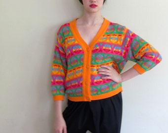 Vintage 1980s Benetton Cardigan Sweater in Bright Colors / 80s Orange Pink Designer Cardigan