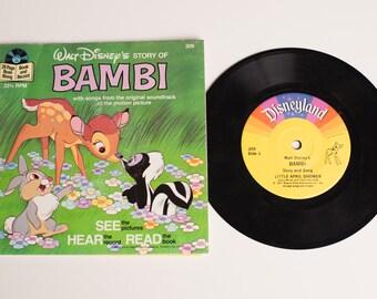 Bambi Book & Record Set, 309, Walt Disney, Vintage 70s, Disneyland, Cartoon Movie Story, Soundtrack Songs, 1977