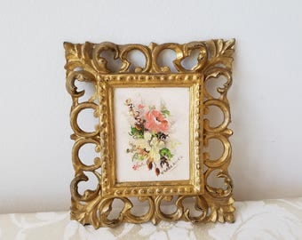Vintage Small Flowers Oil Painting In Gold Frame Made In Italy, Floral Wall Art In Cream Salmon Yellow, Ornate Fleur de Lis