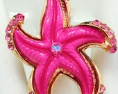 Pink Starfish Ring/Statement Ring/Rhinestone/Summer JewelryGift For Her/Beach/Sea Jewelry/Adjustable/Under 20 USD