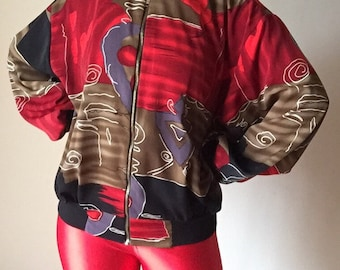 90s batik inspired lightweight unisex bomber jacket baseball urban high fashion vintage red black trim silver zipper hip hop small s medium