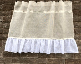 Ecru White Sheer Linen Panel, Rustic Kitchen Window Curtain, Rideaux Cuisine, French Linen Lace Cafe Curtain, Farmhouse Kitchen