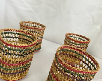 Vintage Woven Basket Drink Cozies - Set of 6
