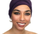 Chemo Hat, Sleep Hat, Alopecia Cap, Cloche, Scarf Liner, Slouch Hat, Plum Purple, Modal Rayon Knit,