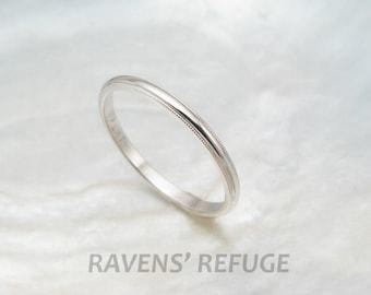 dainty wedding ring -- women's platinum wedding band with milgrain -- 1.5mm