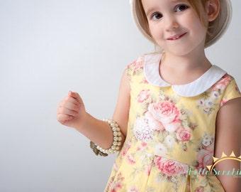 Alice Pleated Dress, PDF Sewing Pattern, girls pleated dress, girls dress pattern, trendy baby clothes, sewing pattern, peter pan collar