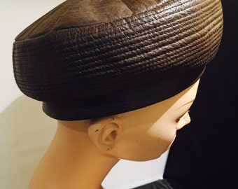 Pillbox Hat Faux Leather Brown Hand Made By Joyce Creations Of California