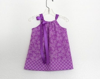 Baby Girls Purple Easter Dress  - Floral Dress with Bloomers - Baby Girls Dark Purple Pillowcase Dress - Size Nb, 3m, 6m, 9m, 12m or 18m