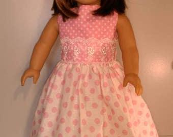 Pink polka dot doll dress and headband fits 18 inch dolls summer set