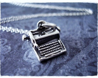 Typewriter Necklace - Sterling Silver Typewriter Charm on a Delicate Sterling Silver Cable Chain or Charm Only