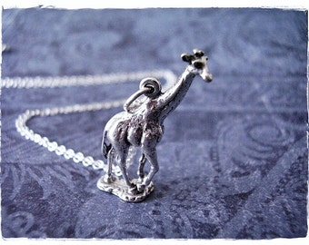 Sterling Silver Giraffe Necklace - Sterling Silver Giraffe Charm on a Delicate Sterling Silver Cable Chain or Charm Only