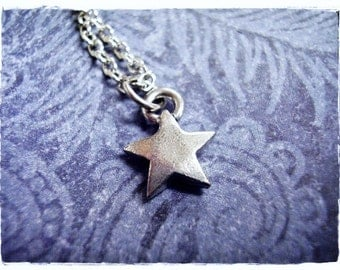 Tiny Silver Star Necklace - Antique Pewter Star Charm on a Delicate Silver Plated Cable Chain or Charm Only