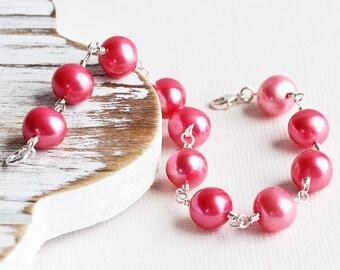 Genuine Freshwater Strawberry Pink Pearl Bracelet in Sterling Silver (Handmade Jewelry)