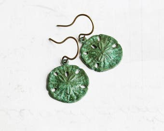 Aged Patina Brass Sand Dollar Dangle Earrings on Antiqued Brass Hooks