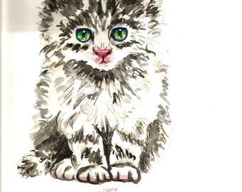"Original Watercolor Animals Pets  ""CAT "" Kitty"""