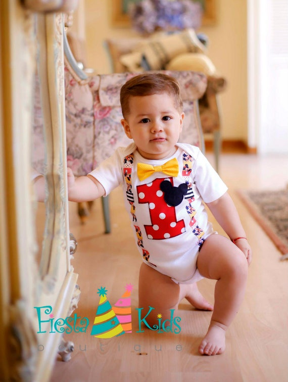 Mickey Mouse Birthday Cake Smash Outfit
