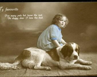 "Little Girl With ST. BERNARD DOG ""Doggy Dear I Love The Best"" Photo Postcard 1914"