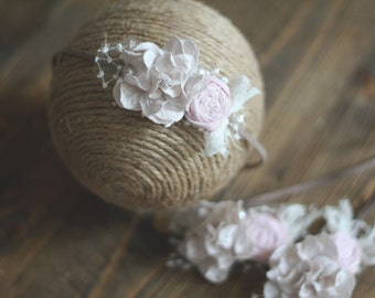 NEWBORN Pink & Cream Flower Headband - Newborn Headband