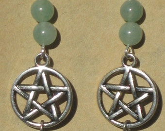 Pentacle Earrings with Aventurine Beads Top and Bottom