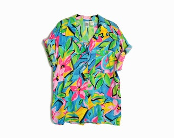 Vintage 80s Tropical Party Shirt / Floral Print Top  - women's large