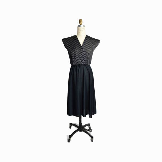 Vintage 80s Black & Silver Lurex Party Dress  / Little Black Dress - women's small