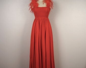 Climax David Howard red knit maxi dress with tube top and marabou spaghetti straps 70s 80s vintage party dancing disco dress