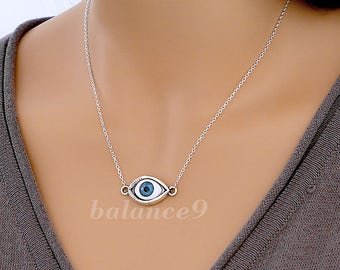 Evil Eye Necklace, Protection necklace, silver Evil Eye jewelry, Gift for Her, by balance9