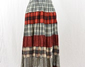 Vintage Maxi Skirt, Flannel Maxi Skirt, Broomstick Skirt, Grunge, 90's Clothing, Tumblr Clothing, Witch, Mori Girl, Size XS-Medium