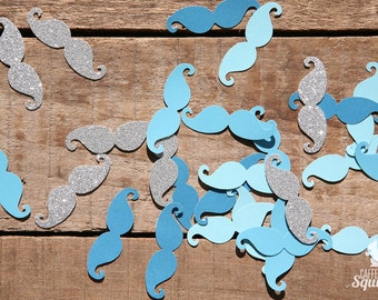 Blue and Silver Mustache Confetti, 3 Shades of Blue with Silver, Baby Shower, Invitation, Birthday Party