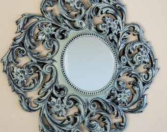 50% Off  Round Wall Mirror 21 Inch Hand Painted Lotus Green Blue with Black Highlights