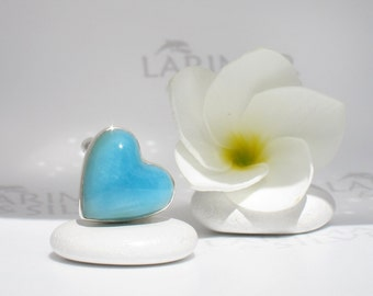 Larimar heart ring size 6.5 by Larimarandsilver, Caribbean Passion - sea blue Larimar heart, Caribbean turquoise, handcrafted Larimar ring