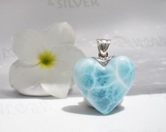 Larimar heart pendant from Larimarandsilver, Aphrodite Waterfall - aqua Larimar heart, turtleback, love fairy, handcrafted Larimar pendant