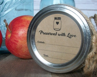 Preserved with Love KRAFT canning jar labels, round mason jar stickers for fruit and vegetable preservation, rustic jam & jelly jar labels