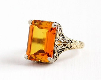 Sale - Vintage 10k Yellow Gold Created Orange Sapphire Ring - Size 7 Art Deco 1930s Emerald Cut Stone Flower Filigree Statement Fine Jewelry