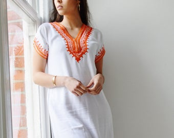 Spring White with Orange Tunic Dress Summer Dress -Lena Style-spring dresses, women's dresses, bohemian, resortwear, holiday wear, gifts